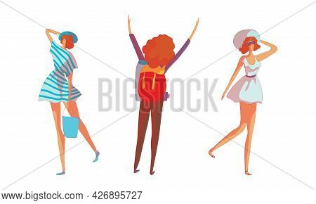 Energetic Woman In Wide Brimmed Hat Walking And Hiking With Backpack Vector Set