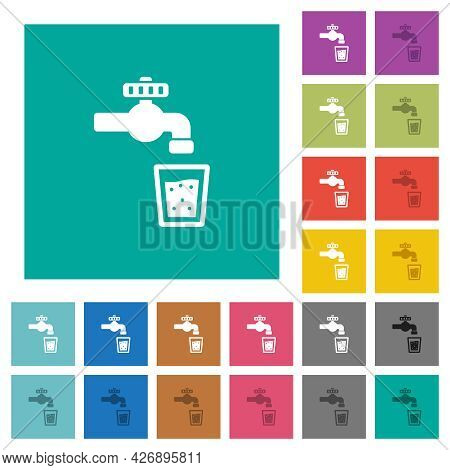 Drinking Water Multi Colored Flat Icons On Plain Square Backgrounds. Included White And Darker Icon