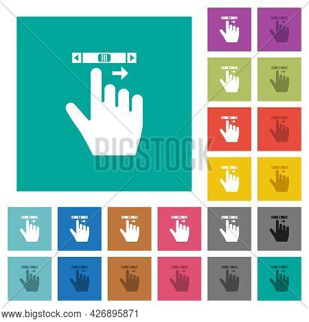 Right Handed Scroll Right Gesture Multi Colored Flat Icons On Plain Square Backgrounds. Included Whi