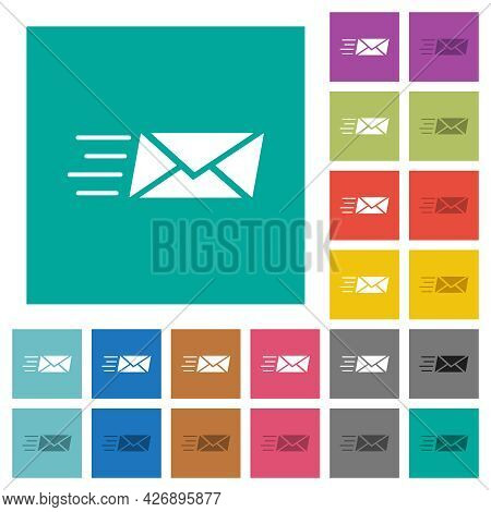 Sending Express Mail Multi Colored Flat Icons On Plain Square Backgrounds. Included White And Darker