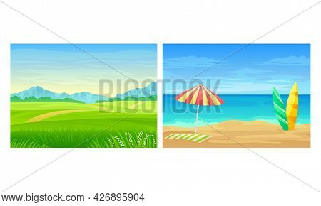 Landscape Panorama View With Sea Shore And Green Meadow Vector Set