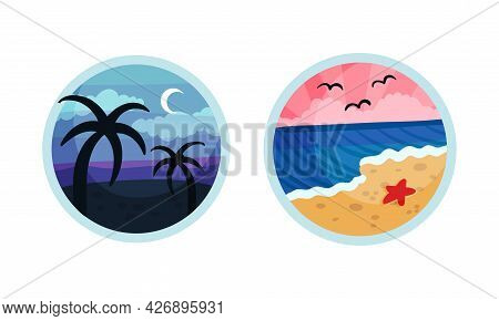 Round Travel Snapshot And Photo Picture As Album Memory Vector Set