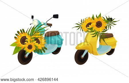 Colorful Moped Or Motorbike With Sunflowers Vector Set
