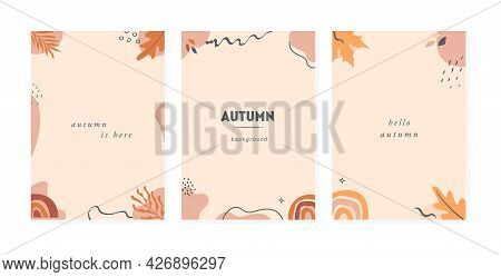 Set Of Trendy Abstract Autumn Vertical Templates With Leaves, Plants, Rainbow And Abstract Shapes An