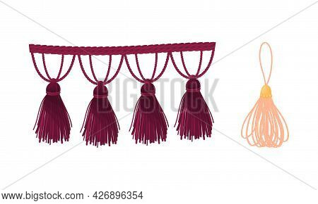 Tassel For Fabric And Clothing Decoration With Braided Cord And Yarn Skirt Vector Set