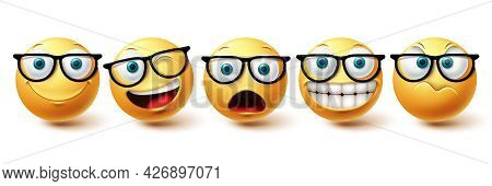 Emoji Face Vector Set. Emoji Nerd Face With Funny, Happy And Naughty Facial Expressions In Yellow Co