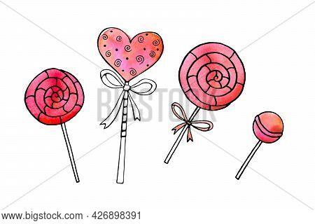 Set Of Outline Watercolor Candies, Sweets, Lollipops On Stick. Hand Drawn Contour Doodle Clip Art. F