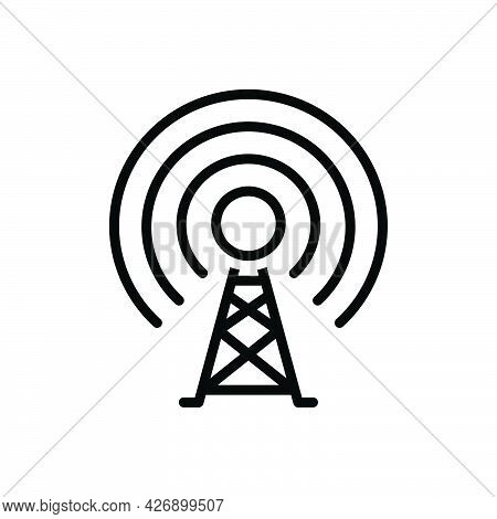 Black Line Icon For Transmit Signal Receive Antenna Repeater Cellular Broadcasting