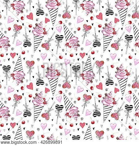 Cute Seamless Pattern Of Pink Watercolor Abstract Ice Cream, Lollipops And Hearts. Hand Drawn Bright