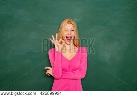 Woman Teaching In Classroom At School Or University. Happy Woman Student Teach And Learn. Education