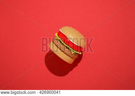 Burger Junk Food Fast Food Unhealthy Trans Fat Red Background