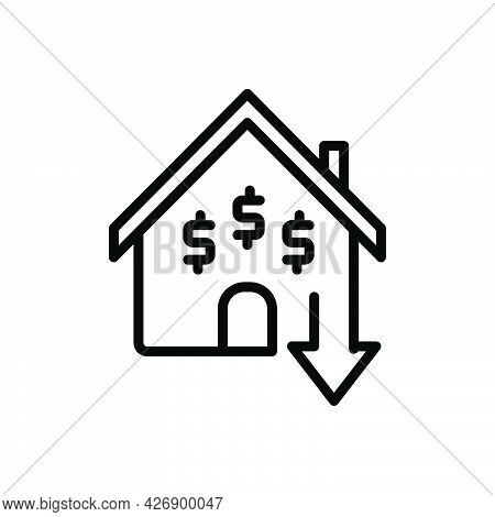 Black Line Icon For Inexpensive Cheap Low-cost Reduce Price House Mortgage Budget