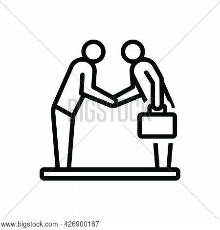 Black Line Icon For Shake Handshake Respected Corporate Agreement Regard Honor Attention