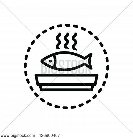 Black Line Icon For Seafood Delicious Dish Food Mackerel Fried Coocked