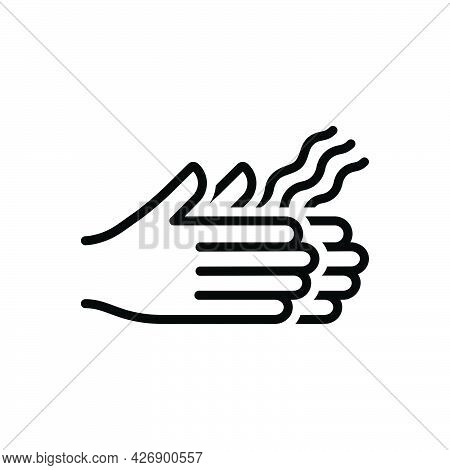 Black Line Icon For Dried Scrawny Seared Parched Hand Dry
