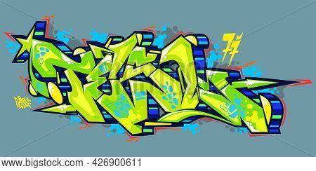 Abstract Urban Graffiti Street Art Word Tesl Lettering Vector
