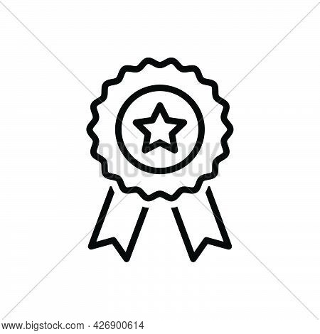 Black Line Icon For Genuine Satisfaction Honorable Warranty Achievement Award Certificate