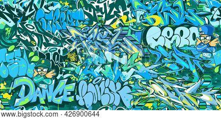 Abstract Blue Urban Graffiti Street Art Seamless Pattern. Vector