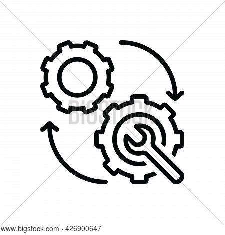 Black Line Icon For Mechanism Machine Appliance Setting Wheel Device Development