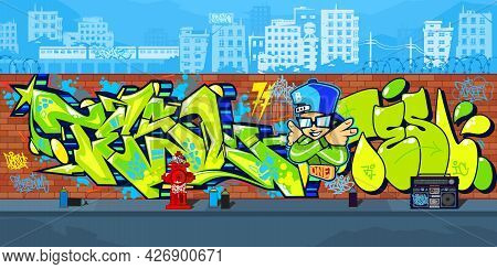 Abstract Outdoor Colorful Urban Streetart Graffiti Wall With Drawings