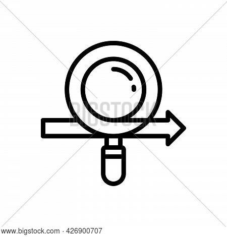 Black Line Icon For Disclose Divulge Publish Reveal Betray Magnifier Investigate
