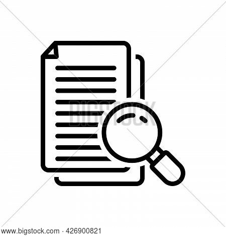 Black Line Icon For Investigations Inspection Search Review Survey Case Document Study