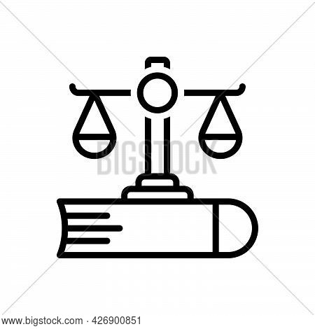 Black Line Icon For Justice Balance Equilibrium Legal Liberty Judgment Law-and-justice