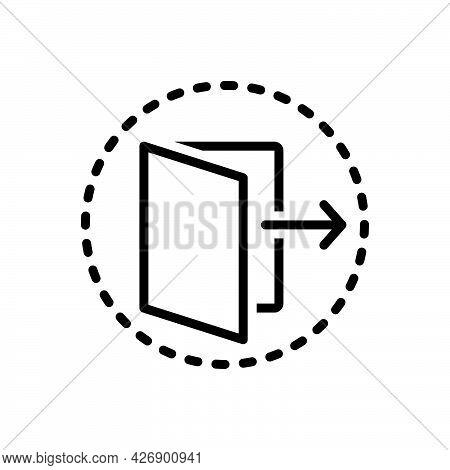 Black Line Icon For Threshold Door Open Doorway Folder Gate Gateway