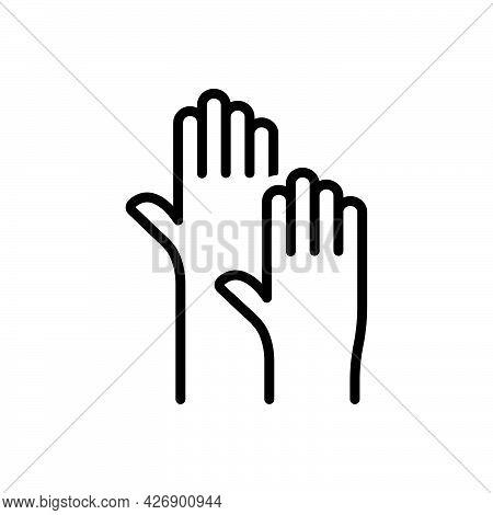 Black Line Icon For Raising Volunteer Hands-up Raised-hands Voting Racism Charity Helpful
