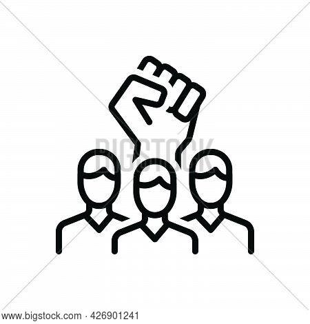 Black Line Icon For Rebel Insurgent Revolution Solidarity Against Violence Aggressive Freedom