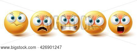 Emoji Angry Vector Set. Emojis Sad And Serious Yellow Faces Collection Isolated In White Background