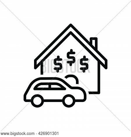 Black Line Icon For Assets Property Wealth Possessions Belongings House Car
