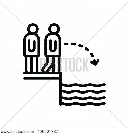 Black Line Icon For Challenges Dare Face Jump River Daresay Presume