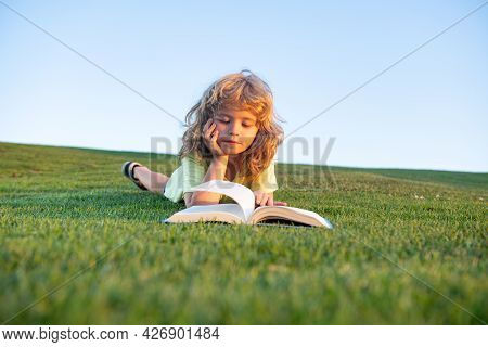 Smart Child Boy Reading Book In Park Outdoors On Summer Day. Clever Kids.