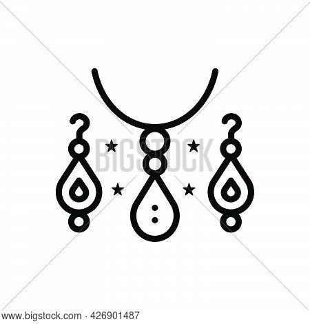 Black Line Icon For Jewellery Ornament Luxury Necklace Costly