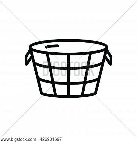 Black Line Icon For Vat Container Tub Tab Drum Vessel Storage