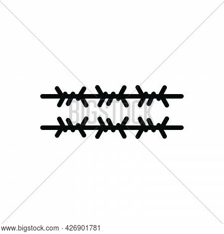 Black Line Icon For Wiring Barbed Wire Fence Barb-wire Barrier Frame Iron-wire