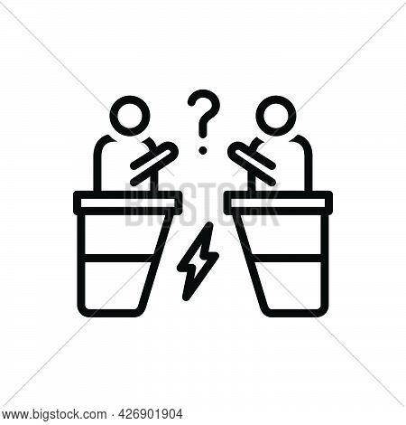 Black Line Icon For Arguments Aggression Conflict Arguing Discussion Fight