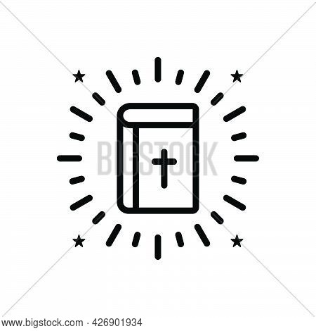 Black Line Icon For Bible Holy Faith Mythology Book Prayer Religion God