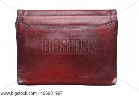 Fashion Handbags. Red Clutch Bag Isolated On White Background. File Contains Clipping Path.