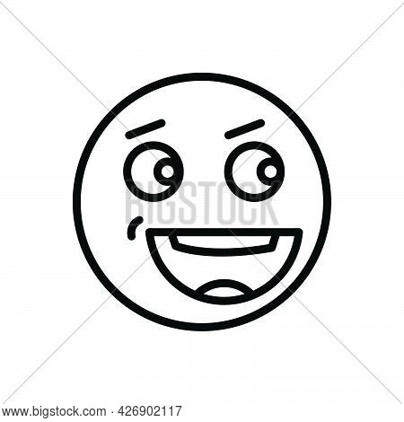 Black Line Icon For Mem Emoji Cheerful Comic Funny Risible Goofy Character