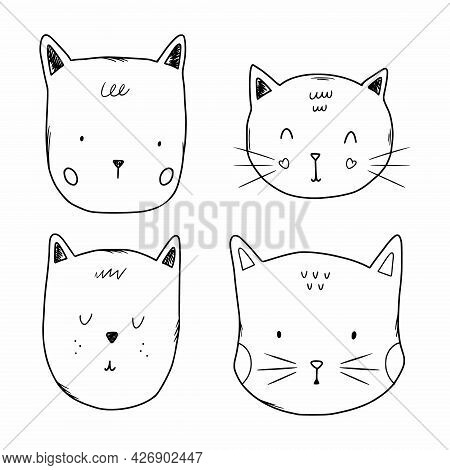 Set Of Kitten  In  Doodle Style. Drawing With  Contour Line For Children. Coloring Book Cat  Face.