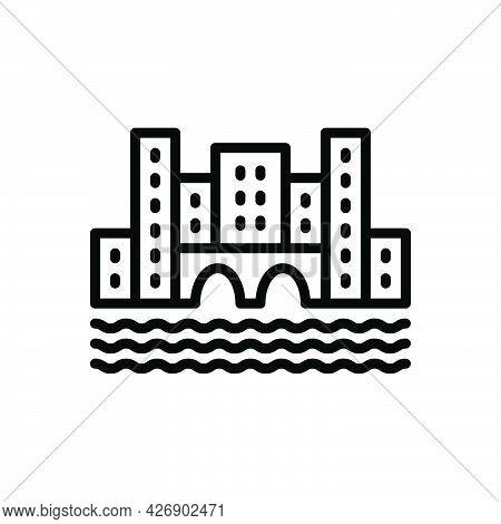 Black Line Icon For Amsterdam Bridge City Holland Dutch Landmark