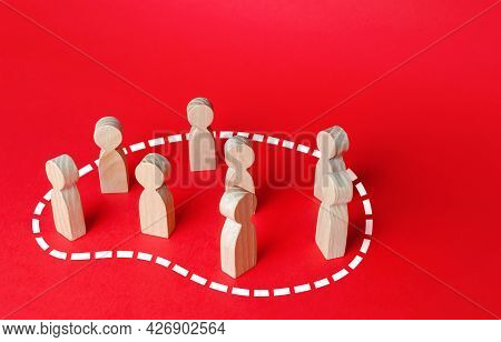 A Group Of People Is Circled In Dotted Line. Grouping People, Teaming Up. Society And Community Conc