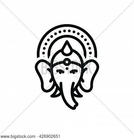 Black Line Icon For Ganesh-chaturthi Ganapathi Ganesh Ganpati Ganesha Hindu Religious Mythology Fest