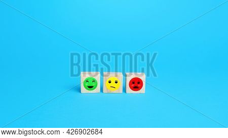 Mood Faces From Satisfied To Dissatisfied. Concept Of Rating, Review. Visitor Satisfaction With The