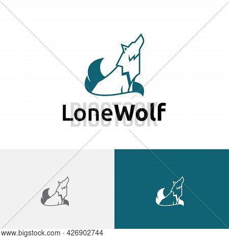 Lone Wolf Howling Jungle Nature Wildlife Logo