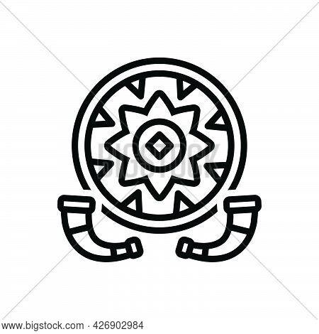 Black Line Icon For Bihu Assam Folklore Rongali Folk Culture Celebration Festival