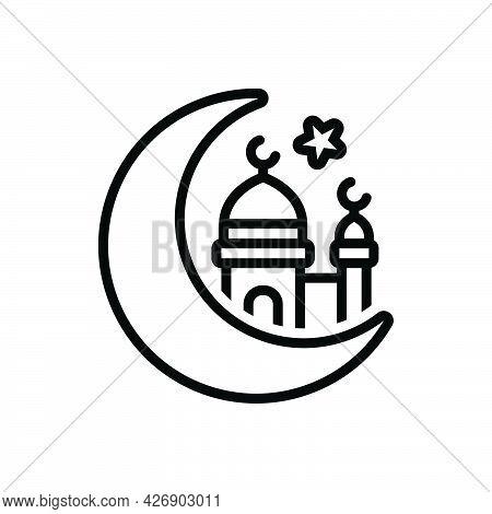 Black Line Icon For Eid-ul-fitr Muslim Ramadan Heritage Festival-of-love Culture Celebration Festiva