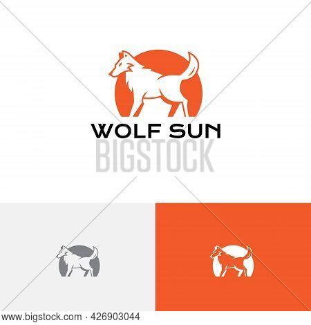 Wolf Sun Natural Predator Wildlife Negative Logo